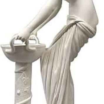 Danaide with Bowl Greek Bonded Marble Sculpture from Italy 10H - 4797