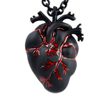 Black and Bloody Anatomical Heart Necklace Zombie Horror Pendant