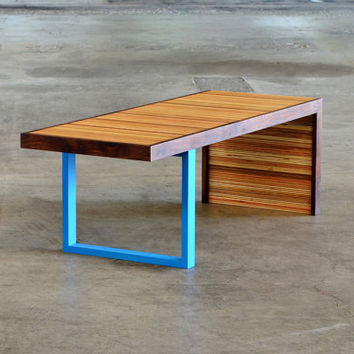 Waterfall Bench - Contemporary, modern, patterned edge grain reclaimed wood bench with colored leg and walnut edging - Great coffee table