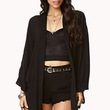 FOREVER 21 Flower Burst Kimono Cardigan Black/Pink Medium