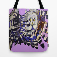 Winter Owl in Flight Tote Bag by Art by Sarah Richards