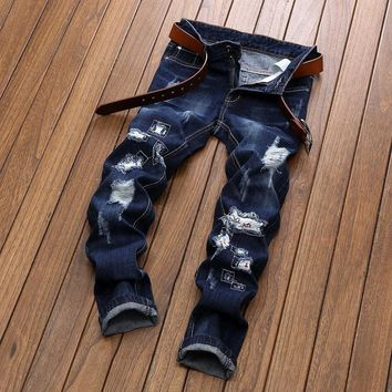 Embroidery Ripped Holes Jeans [1567946375261]