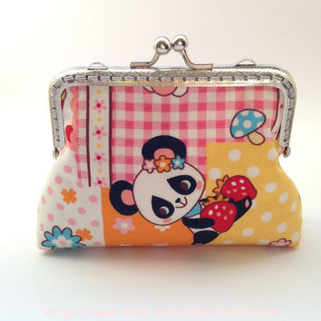 Japanese Kawaii Animals Pattern Cotton Fabric coins keys Clutch Purse - Lined in Japanese Cotton Fabric (105-003)