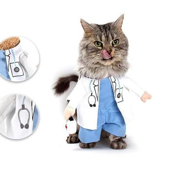 Pet Dog Cat Doctor Halloween Costume Jeans Clothes Cat Funny Apparel