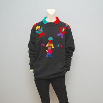 Vintage Oversized Black Sweatshirt with Faux Polo Collar and Abstract Men Wearing Hats
