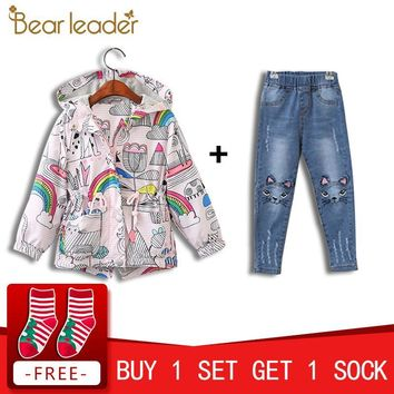 Trendy Bear Leader Girls Coats and Jackets Kids 2018 Autumn Brand Children Clothes Bird&Flowers Print Hooded Outerwear For 3-7 Years AT_94_13