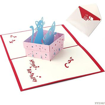 3D Pop UP Holiday Greeting Card Cat Box Animal Christmas Thanksgiving Birthday Gift Y110-Dropshipping