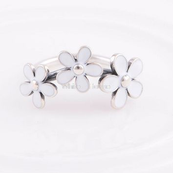 1PC Authentic Flower Wedding Rings Three Daisy 925 Sterling Silver Charm Ring suitable