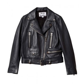 Acne Mock Crop Leather Jacket - Moto Jacket - ShopBAZAAR