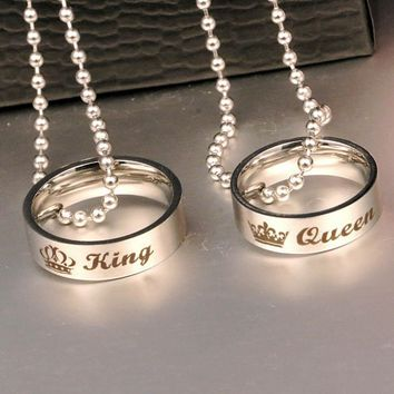 Couple Holes Charm Link Chain Necklace  New Fashion Letter Carved King Queen Hole Pendant Necklace Lover Free Shipping