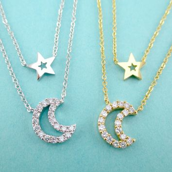 Rhinestone Star and Crescent Moon Shaped Multi-Strand Two Layered Pendant Necklace