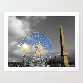 Paris black and white with color Gold Art Print by Mr Splash