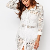 Missguided Long Sleeve Lace Shirt Dress