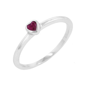 Delicate Heart - Rhodium Plated CZ Solitaire Stone Ring