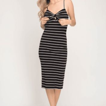 Women's Sleeveless Knit Striped Midi Bodycon Dress with Front Tie