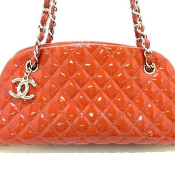 Auth CHANEL Mademoiselle Bowling Bag A50557 Orange Patent Leather Shoulder Bag