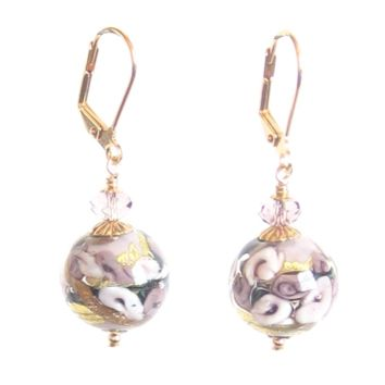 Murano Glass Lavender Bed of Roses Ball Gold Earrings
