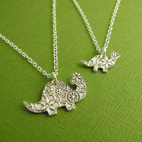 Dinosaur Necklace Set, Mother and Baby Fine Silver Dinosaurs, Sterling Silver Chains, Made To Order