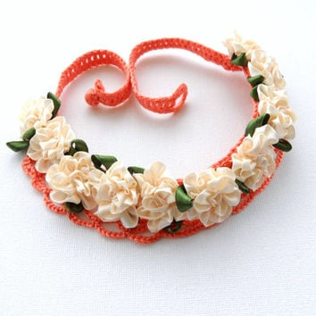 Crochet Necklace - Cotton Necklace - Satin Ribbon Apricot Flowers Necklace Choker