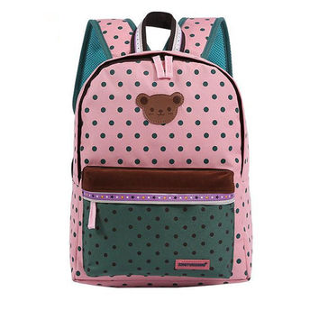 Teddy Bear Kawaii Japanese fashion style color match polka dot backpack bag school trendy