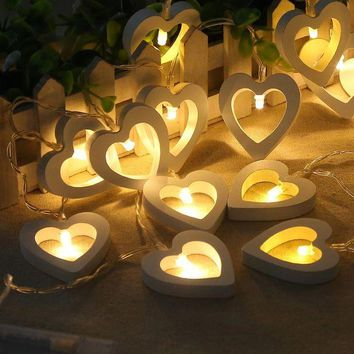DCCK0OQ Christmas Decoration Lights Wooden Heart Outdoors Box [18777669652]