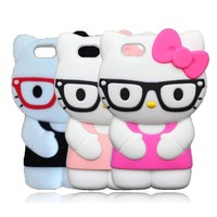 3D Cute Cartoon Glasses Hello Kitty Case For iPhone SE 5 5s 5g 5C Silicone Soft Cover