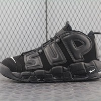 Nike Air More Uptempo Supreme x 902290-001 For Women Men Running Sport Casual Shoes Sneakers Black