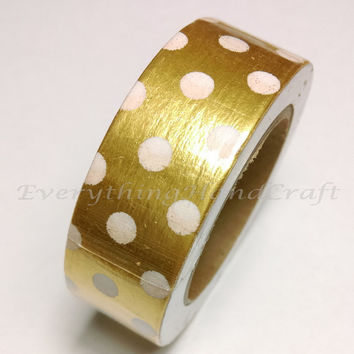 Washi Tape / Japan Sticky Adhesive Tape / Decorative Masking Tape Scrapbooking Tools Favor Stationery Dots Gold Foil 10m g23
