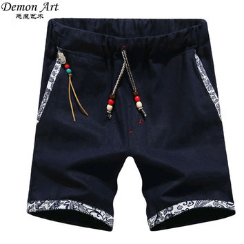 New Summer Style Men Linen Shorts Men Casual Slim Fit Straight Boardshorts Beach Brand Shorts Mens Shorts DK12