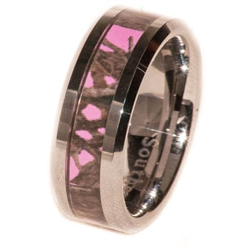 Pink Camo On Silver Tungsten Ring