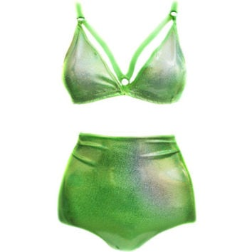 Holographic Neon Green High Waist Swimsuit