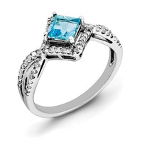 Princess Cut Light Blue Topaz & .25 Ctw Diamond Sterling Silver Ring