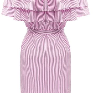 Casual Off Shoulder Bowknot Tiered Vertical Striped Bodycon Dress