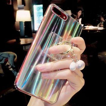 """Kalete Laser iphone 7plus mobile phone case silicone and Bracket  soft set with pearl iphone case transparent"""""""