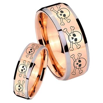 His Hers Rose Gold Beveled Multiple Skull 2 Tone Tungsten Wedding Rings Set