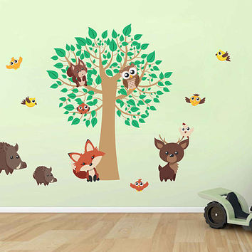 Forest animals Wall Decals for nursery woodland animals Wall Decals for nursery forest wall decal tree wall decal for nursery kcik1766