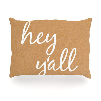 "KESS Original ""Hey Y'all - White"" White Brown Oblong Pillow"