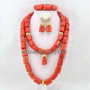 New large Orange Nigerian Coral Jewelry Sets Coral Beads Necklace Set Nigerian African Wedding Beads Jewelry Sets W8637
