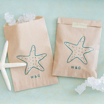 Personalized 10 Beach Wedding Favor Bags