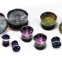 "Dichroic Glass Plugs 2G (6mm) - 1"" (25mm)"