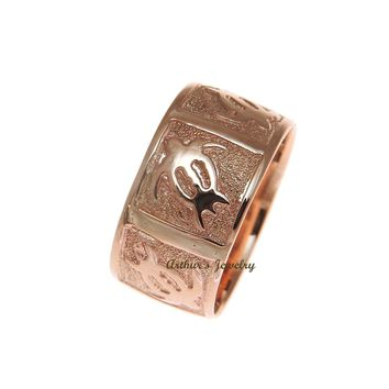 14K SOLID PINK ROSE GOLD 8MM CUSTOM MADE PERSONALIZED HAWAIIAN HONU TURTLE RING