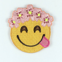 Flower Crown Emoji Patch / Iron-On, Embroidered Patch / Applique