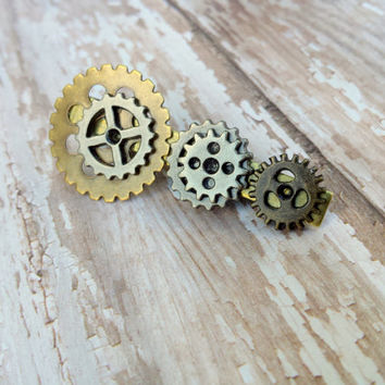 Steampunk Tie Clip, Men's Tie Clip, Mens Tie Bar Clip, Cool Mens Gift, Fathers Day Gift