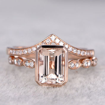 Rose Gold Morganite Wedding Set Diamond Curved V Half Eternity Ring Emerald Cut Stacking Band 14k/18k