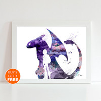 How to train your DRAGON 2 watercolor illustration art print, How to train your DRAGON art, home decor, wall art, art print, movie art