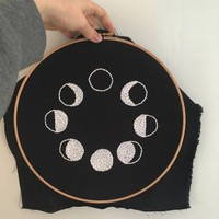 Moons - Handmade embroidery wall art. Embroidery design designs. Doodle. Wood. Wooden embroidery hoop. Nature moons Plants. 30cm.