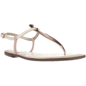 Sam Edelman Gigi Flat Sandals, Pink/Ivory/Rose Gold, 8 US / 38 EU