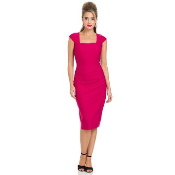 Lillian Pleated Pink Pencil Dress