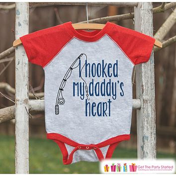 Boys Father's Day Outfit - Kids Red Raglan Shirt - Hooked Daddys Heart Fishing Happy Father's Day Onepiece or Tshirt - Childrens Raglan Tee