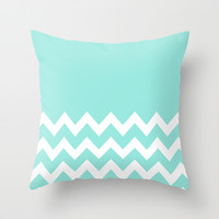 Chevron Colorblock Tiffany Blue Throw Pillow by Beautiful Homes